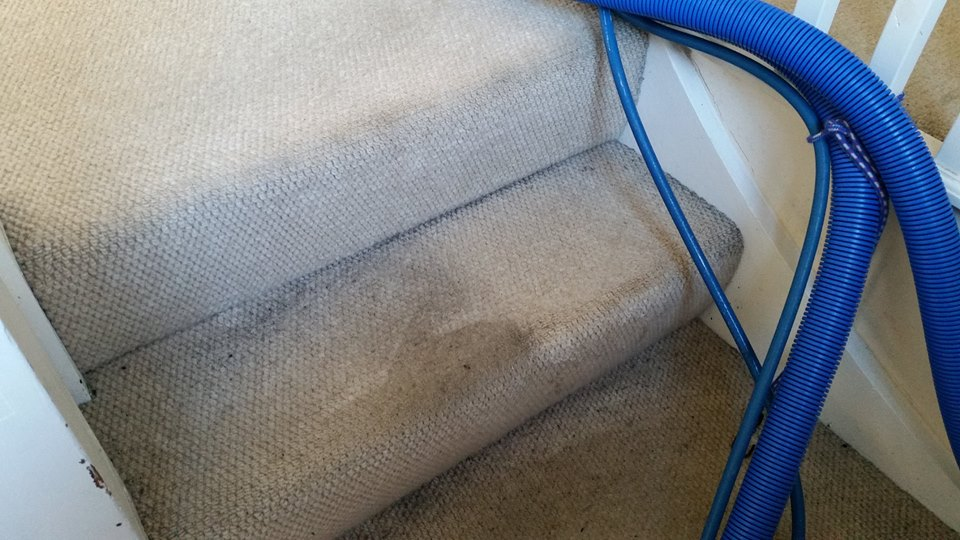 Stairs before and after carpet cleaning services